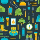 Cartoon Traveling Camping and Hiking Background Pattern on a Blue. Vector Royalty Free Stock Photo