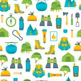 Cartoon Traveling Camping and Hiking Background Pattern on a White . Vector Stock Photo