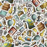 Cartoon Traveling seamless pattern with lots of objects. Cartoon cute hand drawn Traveling seamless pattern. Colorful detailed, with lots of objects background Royalty Free Stock Photo