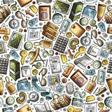 Cartoon Traveling seamless pattern with lots of objects. Cartoon cute hand drawn Traveling seamless pattern. Colorful detailed, with lots of objects background Royalty Free Stock Images