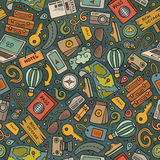 Cartoon Traveling seamless pattern with lots of objects. Cartoon cute hand drawn Traveling seamless pattern. Colorful detailed, with lots of objects background Stock Photos