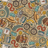 Cartoon Traveling seamless pattern with lots of objects Stock Photo