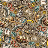 Cartoon Traveling seamless pattern with lots of objects Royalty Free Stock Images