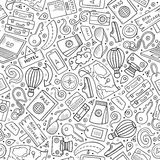 Cartoon Traveling seamless pattern with lots of objects Royalty Free Stock Photo