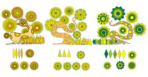 Cartoon tree. Three colored abstracted trees with flowers and leaves Stock Photography