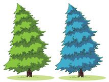 Cartoon tree. Illustration of a cartoon fir tree on a patch of grass Stock Images