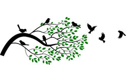 Cartoon tree and bird silhouette Royalty Free Stock Photography