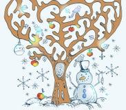 Cartoon tree with birds Royalty Free Stock Photo