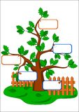 Cartoon tree and blank cards. Stock Images