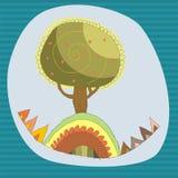 Cartoon tree on a blue sky background. Cute  card with tree Stock Photo