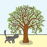 Cartoon tree and cat, vector Stock Photography