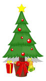 Cartoon Tree - Christmas Vector Illustration Stock Photo