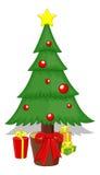 Cartoon Tree - Christmas Vector Illustration Stock Photo