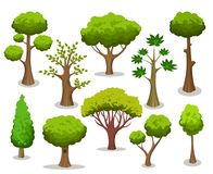 Cartoon tree collection. Tree collection. Cartoon natural trees clipart isolated on white background for naturally vector illustrations stock illustration