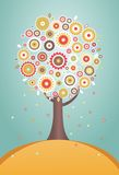 Cartoon tree with flowers Stock Image