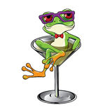 Cartoon Tree frog Martini cocktail Stock Images