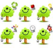 Cartoon Tree Holding Objects Royalty Free Stock Photography