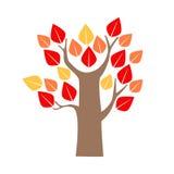 Cartoon Tree Red and Yellow Oak. Vector Stock Photo