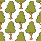 Cartoon Tree Seamless Pattern Stock Images