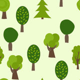 Cartoon Tree Seamless Pattern. Summer Vector Background. Forest Texture Royalty Free Stock Image