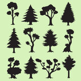 Cartoon Tree Silhouettes Collection Stock Images