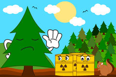 Cartoon tree versus toxic waste concept illustration Stock Photo