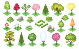 Free Cartoon Trees And Bush Fence, Stones And Grass Royalty Free Stock Photo - 178225675