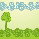 Cartoon trees background. Decorative trees background. Spring banner Royalty Free Stock Images