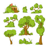 Cartoon trees and bushes vector set stock illustration