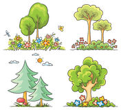 Cartoon Trees with Flowers. Set of different cartoon trees with flowers Stock Photos