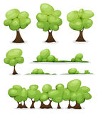 Cartoon Trees, Hedges And Bush Leaves Set Stock Photography