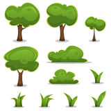 Cartoon Trees, Hedges And Grass Leaves Set Royalty Free Stock Photos