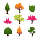 Cartoon Trees, Leaves and Bushes Set Vector Stock Image