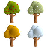 Cartoon trees from plasticine or clay Royalty Free Stock Images