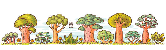 Cartoon Trees in a Row. For a bottom border design, no gradients vector illustration