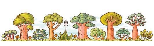 Cartoon Trees in a Row Stock Image