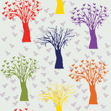 Cartoon trees seamless pattern Stock Image
