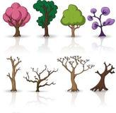 Cartoon trees,  set Royalty Free Stock Images