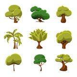 Cartoon Trees Set Vector Illustration. Set of cartoon trees, vector illustration collection Stock Photos