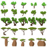 25 Cartoon trees set. On white background for web and mobile device Royalty Free Stock Photography