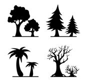 Cartoon trees silhouettes Royalty Free Stock Image
