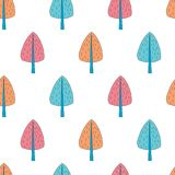 Cartoon trees vector repeat pattern Royalty Free Stock Photo
