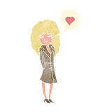 Cartoon trenchcoat wearing woman in love Royalty Free Stock Image