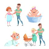 Cartoon trendy design happy family sticker icons. Washing baby in basin and crawl baby, pregnant woman with husband, mother and fa. Ther with stroller.  EPS10 + Royalty Free Stock Image