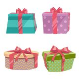 Cartoon Trendy Design Vintage Round Gift Box Set With Different Colors Ribbons And Bows. Birthday And Christmas Vector Icon. Royalty Free Stock Photography