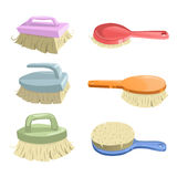 Cartoon trendy icon set of cleaning brushes. Housework vector simple gradient icons. Orange, green, pink, red and blue shiny brush Stock Photography