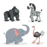Cartoon trendy style african animals set. African elephant, gorilla monkey, zebra and ostrich. Closed eyes and cheerful mascots. Vector wildlife illustrations Royalty Free Stock Image
