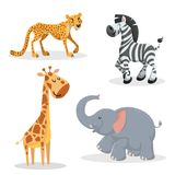 Cartoon trendy style african animals set.Cheetah, zebra, giraffe and elephant. Closed eyes and cheerful mascots. Vector wildlife illustrations Stock Photography