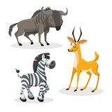 Cartoon trendy style african artiodactyls  set. Gnu, antelope, gazelle, wildebeest and zebra. Closed eyes and cheerful mascots. Vector wildlife illustrations Stock Photos