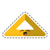 Cartoon triangle ruler school cut line Stock Images